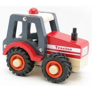 Kaper Kidz - Wooden Tractor - Red: A beautifully made wooden Red tractor with rubber wheels and a clean finish. This product moves smoothly and is convenient to carry around. A great little push along toy with a solid, non toxic paint job. Age: 18+ Months. #alltotstreasures #kaperkidz #woodentractorred #woodentoys #farmmachinery #tractor