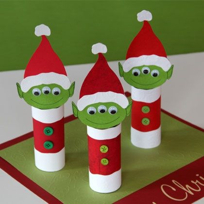I'm not actually looking only for cardboard paper roll crafts but I suppose it's one of those things that catches your eye once it's on your radar. These Toy Story aliens are so cute! (Image from http://spoonful.com/crafts/three-eyed-alien-elves)