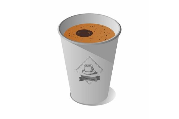 Isometric paper cup with coffee  @creativework247