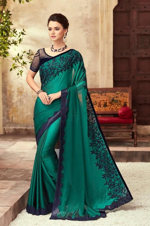 Sea Green Party Wear Embellished Saree in 2020 | Saree