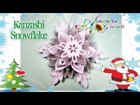 Tutorial Kanzashi Snowflake   Fiocco di neve - YouTube