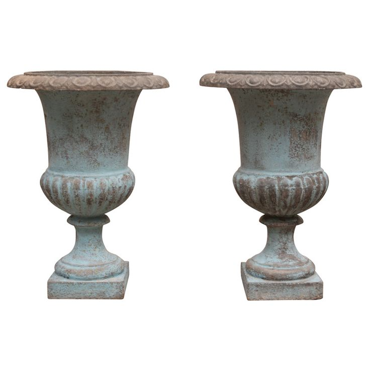Pair Of Painted Cast Iron Urns   21in Tall