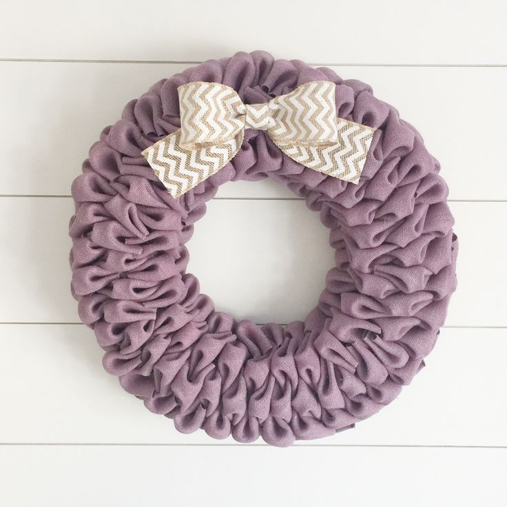 Lavender burlap bubble wreath with white chevron bow - Spring wreath - Easter wreath by willowbloomwreaths on Etsy https://www.etsy.com/ca/listing/500653888/lavender-burlap-bubble-wreath-with-white