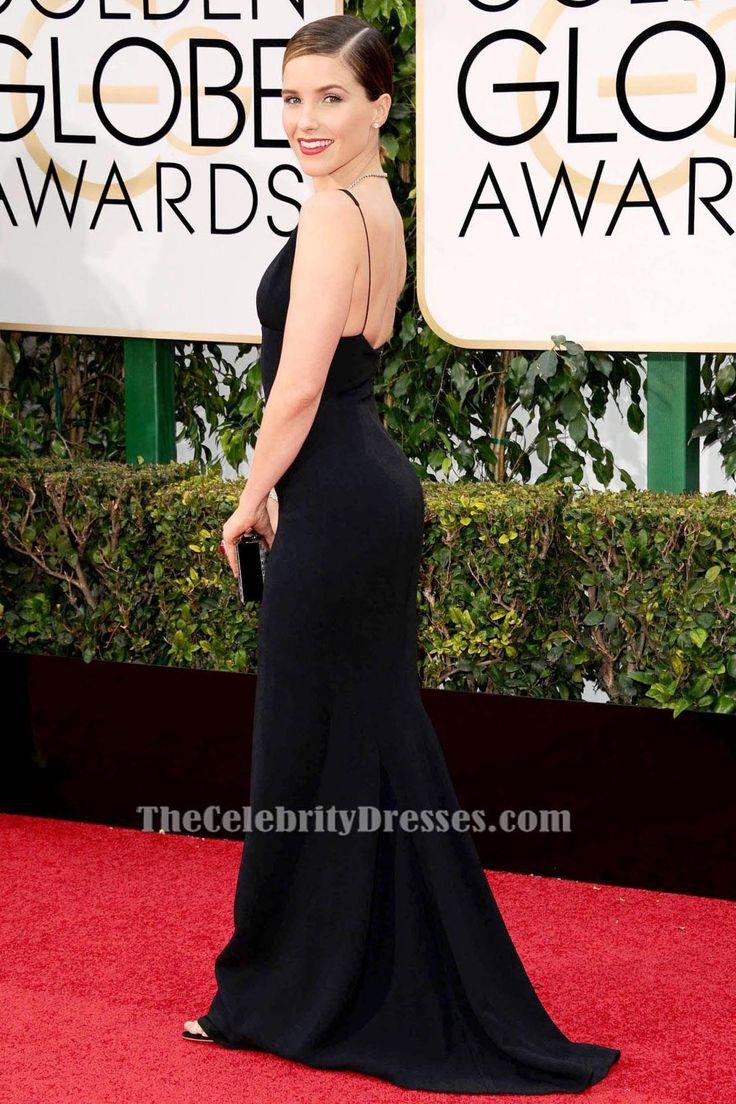 Sophia Bush Black Evening Dress 2016 Golden Globe Awards Red Carpet Celebrity Gowns TCD6535