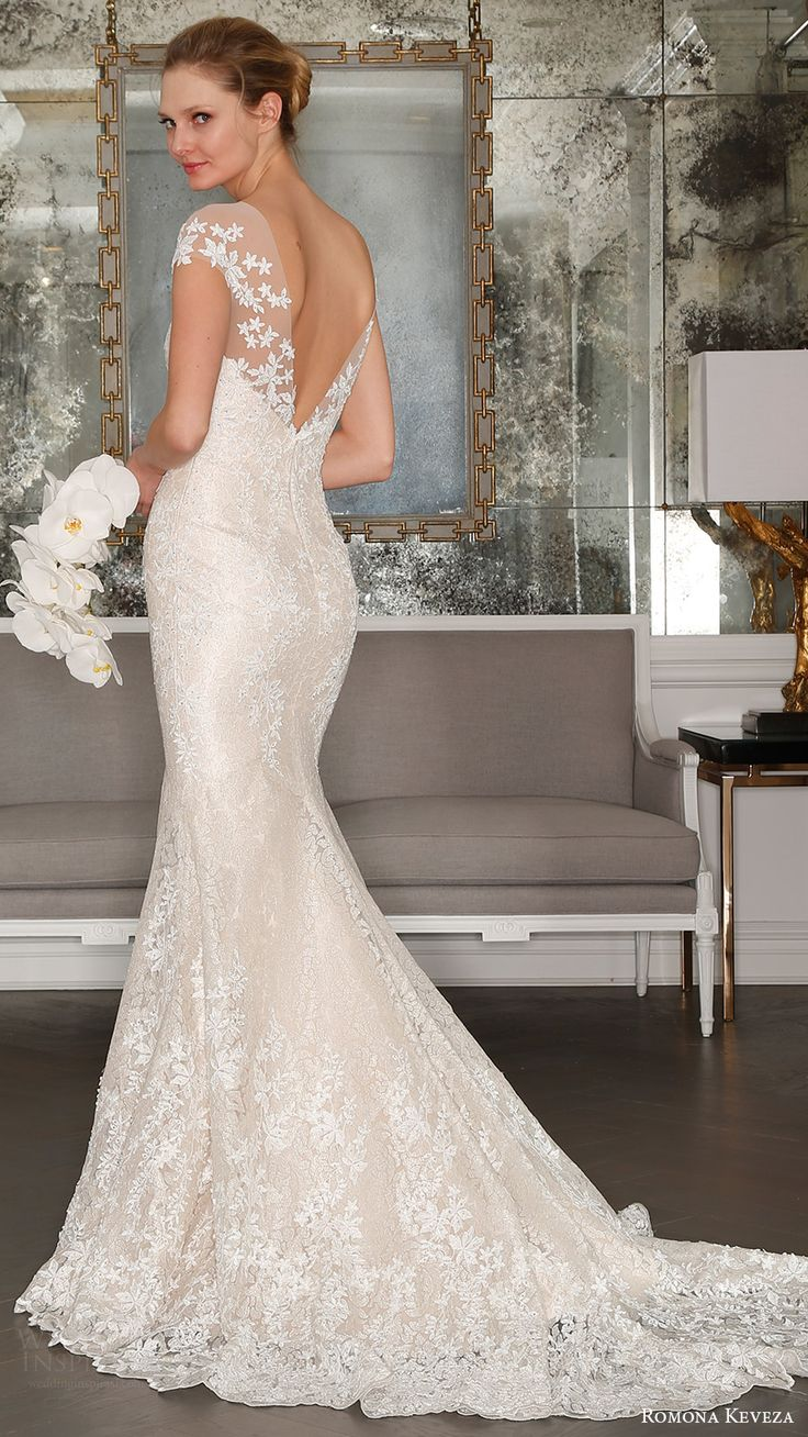 romona keveza bridal spring 2017 illusion cap sleeves trumpet wedding dres (rk7407) bv vback train