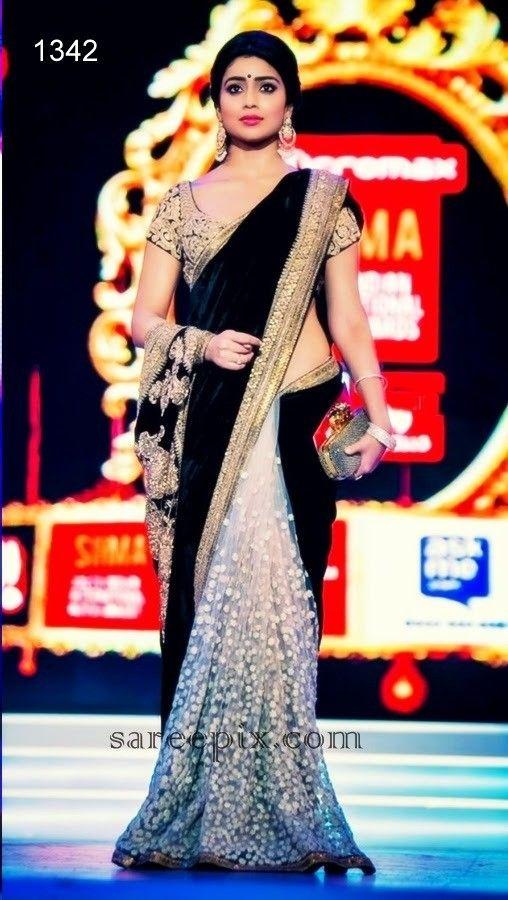 Shriya Black Velvet Half Half Saree At Aimdeals.com