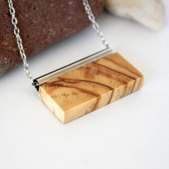 Olive Wood Necklace Wooden Jewelry Rectangle Wood Necklace