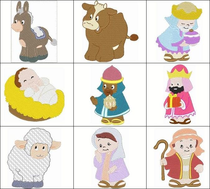"""""""Cute Nativity"""" This #MachineEmbroidery set includes all the characters you'll need to create a darling wall hanging of your own design. Includes the baby Jesus, mother Mary, Joseph, 3 wise men, burro, cow, sheep and camel. Designed for 4x4 hoops! Follow the star...err...link below to get yours today!"""