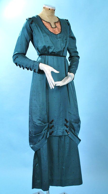 1910 TEAL BLUE-GREEN SILK LADIES AFTERNOON DRESS