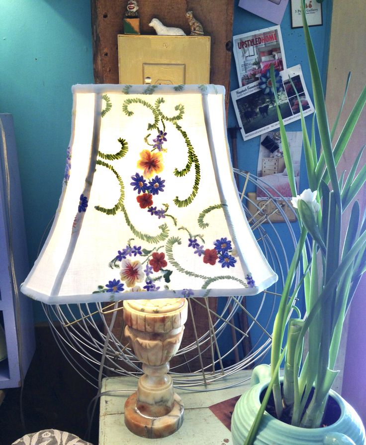 Flower Rectangle Lamp Shade, Lampshade English Vintage Embroidery Handmade, Table Lampshade, Shabby Chic - Pretty Bedroom Lampshade by lampshadelady on Etsy