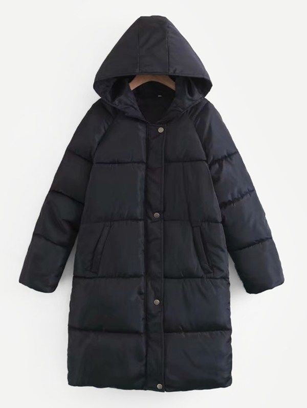 2bc3eb0745 Single Breasted Hooded Puffer Coat -SheIn(Sheinside) | house | Coat ...