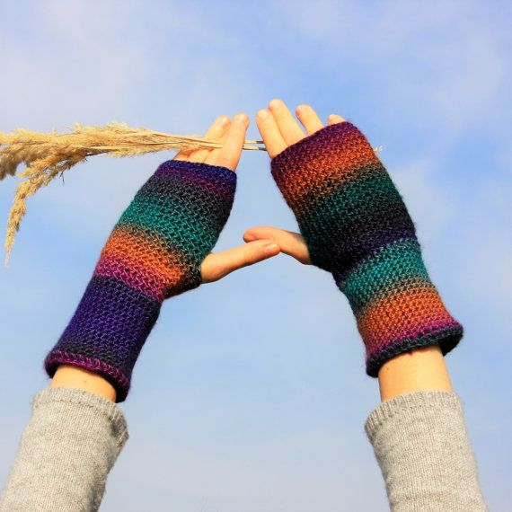 Multicolored Fingerless Gloves / Colour Mixes by RUKAMIshop