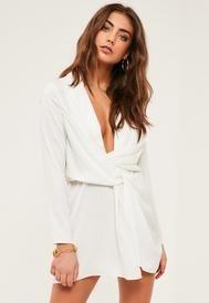 Petite Exclusive White Satin Wrap Mini Dress