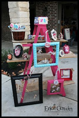 Craft display made by Erica Cerwin for a craft show.  Very cute! - ladder and boards!