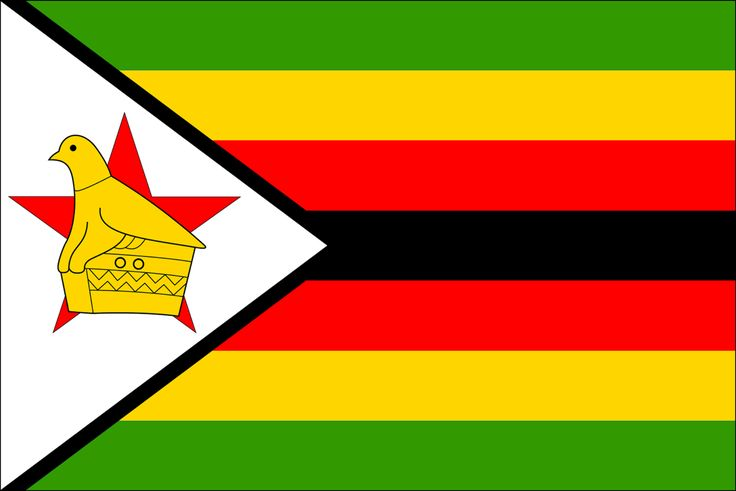 Zimbabwe flag . green stands for vegetation , yellow for the minerals , red for the blood that was shed during the war , white for peace and black for the black majority. Pin repinned by Zimbabwe Artisan Alliance.