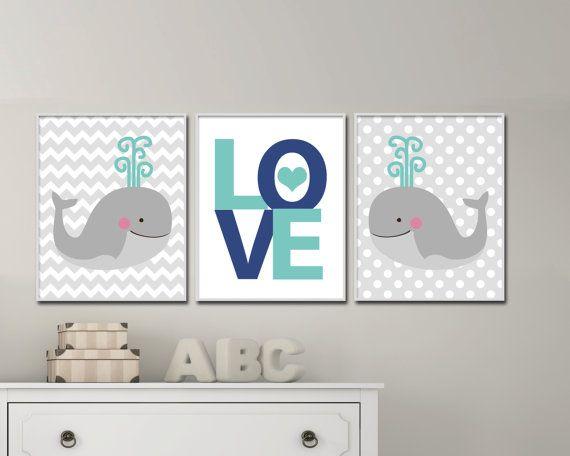 Baby Boy vivero arte. Juegos de ballena vivero arte por HopAndPop