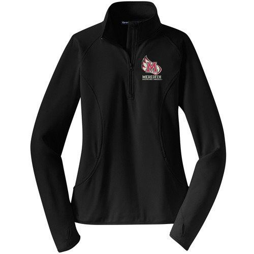 Meredith College Women's Black Sport-Wick® Stretch 1/2-Zip Pullover