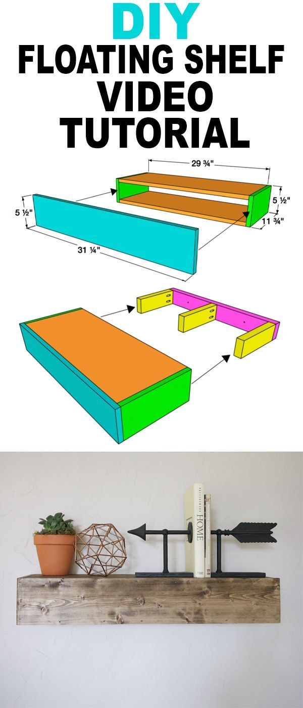 DIY Floating Shelf YouTube Video Tutorial and FREE plans... Yeah!!! www.shanty-2-chic.com