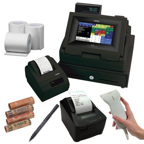 Royal TS4240 LCD Touch Screen Restaurant and Retail Cash Register with Thermal Receipt Printer in Black + Additional Restaurant Kitchen Printer for TS4240 + Accessory Kit by Royal. Save 3 Off!. $699.95. Royal offers the TS4240 Touch Screen LCD Cash Register. The 9 inch Color LCD touch screen control panel with backlight offers 200 departments 400 clerk ID system with 3000 price look ups. Multiple price levels and serial connection and automatic tax computation.  * Additional Resta...
