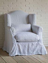 Poltrona grande lino stone wash bianco