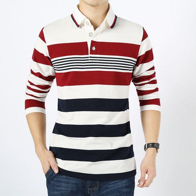 Plus size M-XXXXL brand men Long Sleeve Polo New Arrivel Fashion Cotton Anti-Wrinkle striped New 2016 Spring