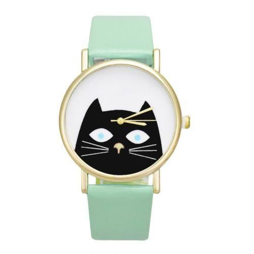 Cute Kitty Wristwatch Green