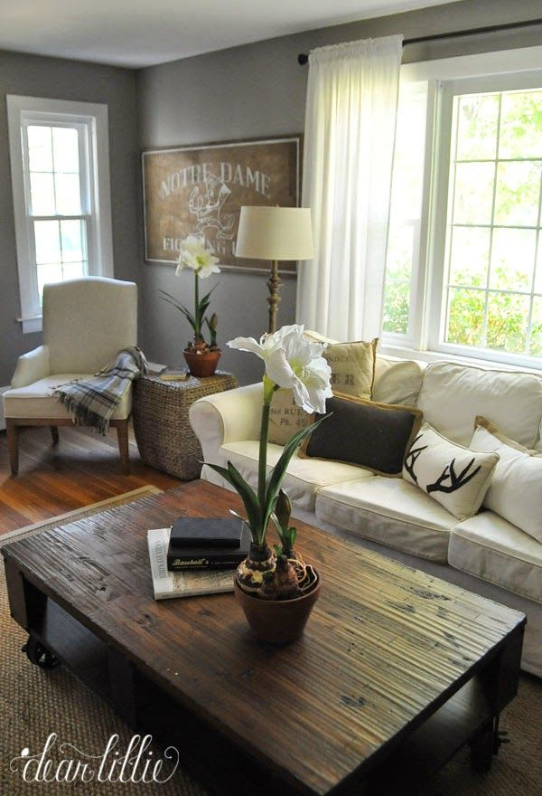 De 20 bedste id er inden for gray living rooms p pinterest - Living room with cream walls ...