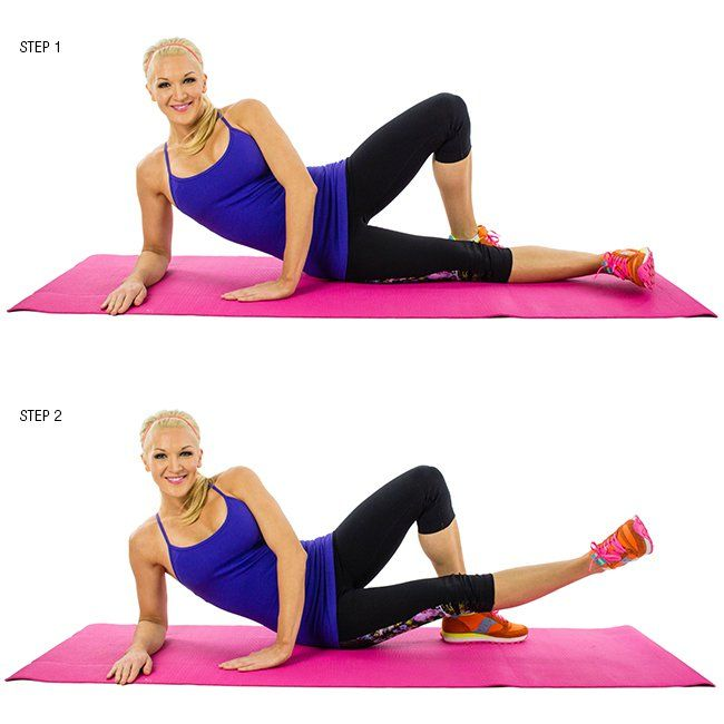 Inner Thigh Lifts: Lay down on your left side with your head propped up in your hands. Put your left leg out in front of your right and lift it straight up and down as much as you can while maintaining a straight leg. You don't need a big movement to feel this one. You can make it more difficult by holding a body bar across the working leg or putting an ankle weight on it. Throw one or two of these moves in as part of your lower body workout when your legs are primed and ready to go.