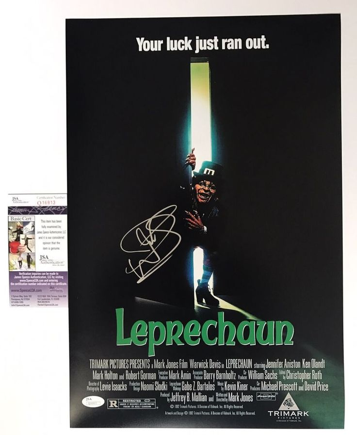 WARWICK DAVIS signed 12X18 Movie Poster LEPRECHAUN Horror Scary JSA Authentic