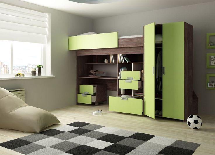 Hochbett Schonberg rustikal Limette Kinderbett Etagenbett Multifunktion 90x200