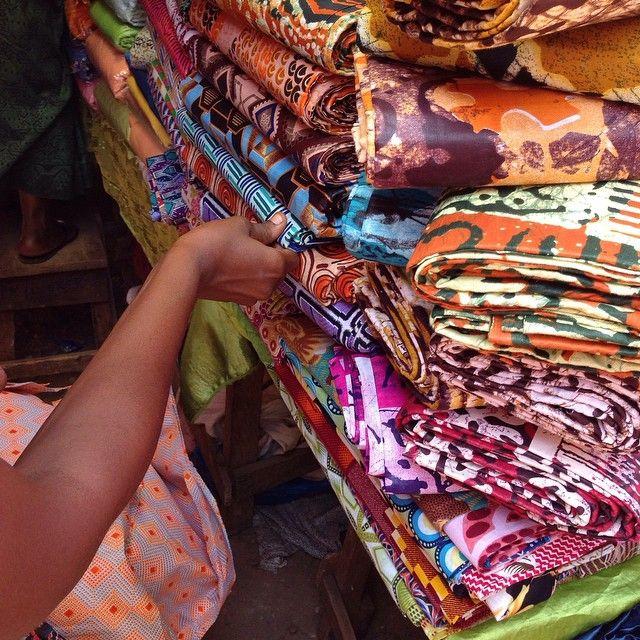 Wifey sourcing fabrics earlier this year #gara #freetown #sierraleone #inspiration #colour #bdakin #ankara #afrochic