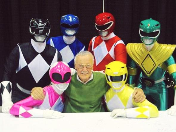 Stan Lee with the Power Rangers