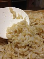 Tracy Cooks: Brown Rice in the Pressure Cooker. 1 1/2 cups brown rice, 2 1/4 cups liquid of your choice, water, stock, coconut milk (!) or any combination thereof a pinch of salt. 18 mins,  quick release