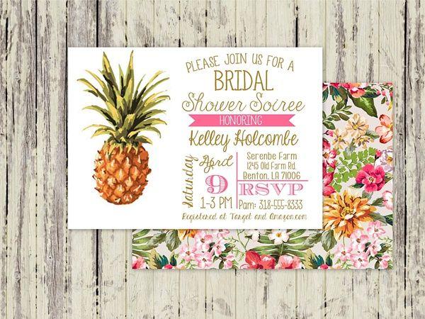 Aloha pineapple bridal shower invitation