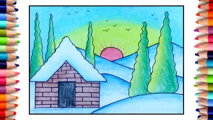 How to draw simple Sunrise for kids, Easy scenery drawing ...