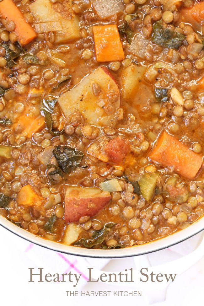 from The Harvest Kitchen / this humble Hearty Lentil Stew is quick and easy to make, has a great combo of flavors - and I serve with quinoa and garnish with caramelized onions. A really tasty and nutritious one-pot wonder!! @theharvestkitchen.com