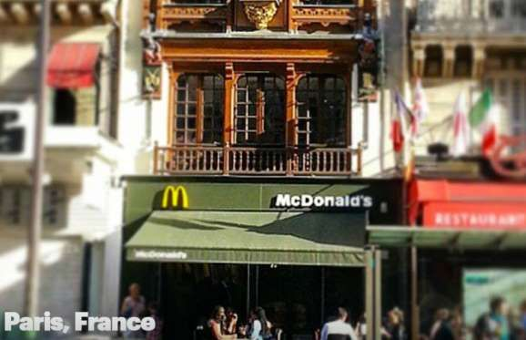 PARIS, FRANCE  In among some historical buildings and very luxe restaurants and shops on Rue Saint-Lazare sits this McDonald's. It's charming and definitely has character. It's strategically placed to draw in tourists who flock to the area for its history and shopping.