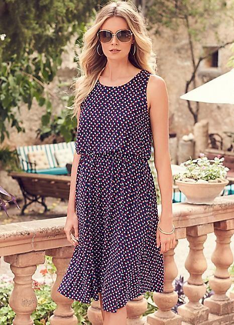 Spot Print Blouson Jersey Dress  #PackingForMe #Kaleidoscope #Summer #Holiday