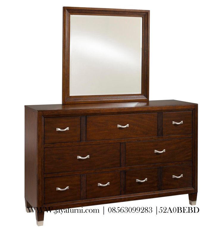 Bufet Cermin Hias Kayu jati model minimalis denga laci banyak dan juga cermin, warna finishing read mahogani, produk nakas hias ukuran besar.