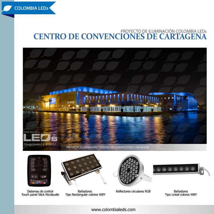 Proyecto de iluminación COLOMBIA LEDs para la fachada del Centro de Convenciones de Cartagena. Con luces de color WBY y RGB se logra destacar la sobriedad de la edificación y sus formas arquitectónicas. #colombialeds