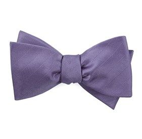 Herringbone Vow Lavender Bow Ties