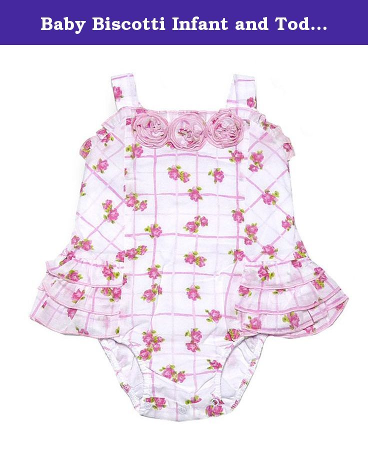 "Baby Biscotti Infant and Toddler ""Rosie Baby"" Sun Suit (6M). She'll have fun playing in the sun by the beach and pool in this pretty Rosie Baby sunsuit by Baby Biscotti. Ruffled trim and rosette detail. THIS IS NOT A SWIMSUIT."