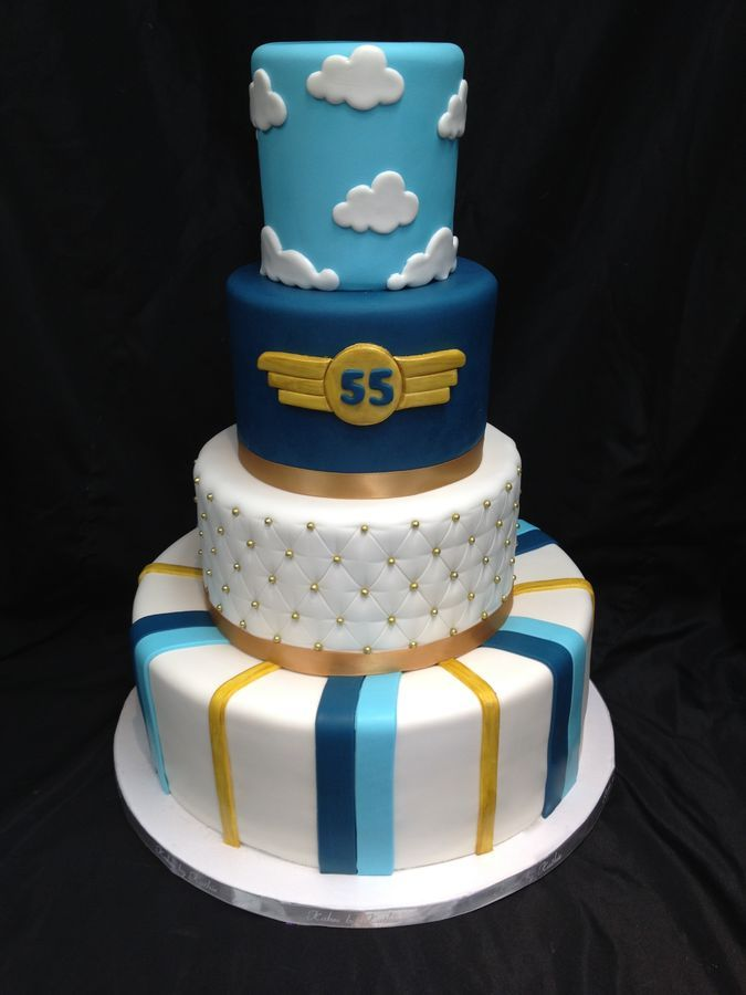 We were requested to make this for the 55th birthday of an aviation enthusiast. Upon delivery we added an edible replica of th birthday boys plane...but I forgot to take a picture of it :(