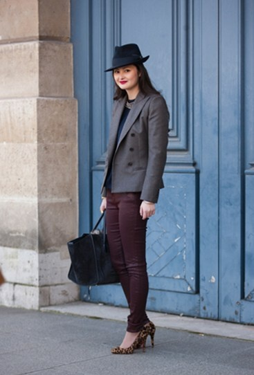 dressed up oxblood jeans paired with leopard pumps appropriate even for the office