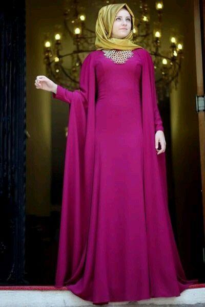 Fuşya ve altın sarısı abiye tesettur elbise #fuşya #altın #tesettür #abiye #elbise #modelleri www.abiyeelbisemodelleri.com