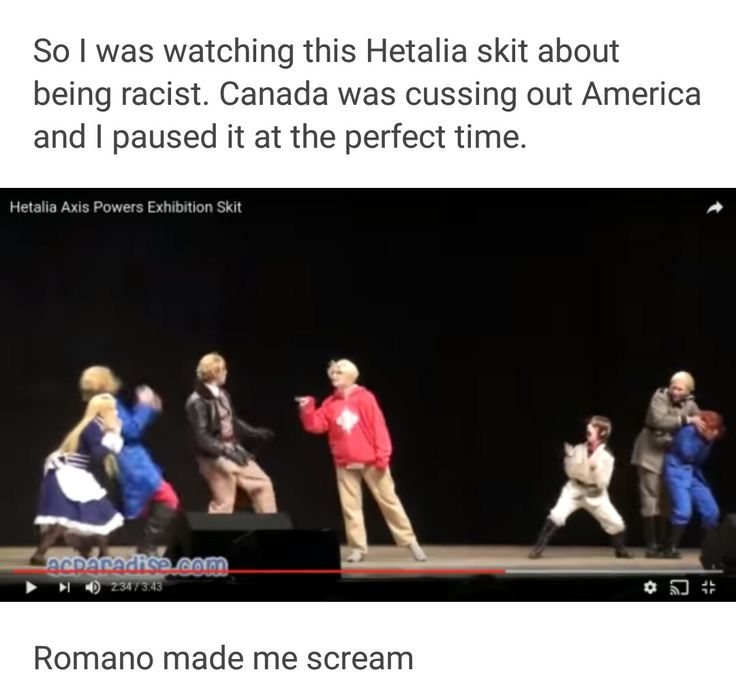 Hetalia - Romano xD<<< I'VE SEEN THIS IT'S HILARIOUS<<< WHAT'S THE LINK?<<<<https://www.youtube.com/watch?v=D4X95GG0_Lo I say this is some weird shiz right here...
