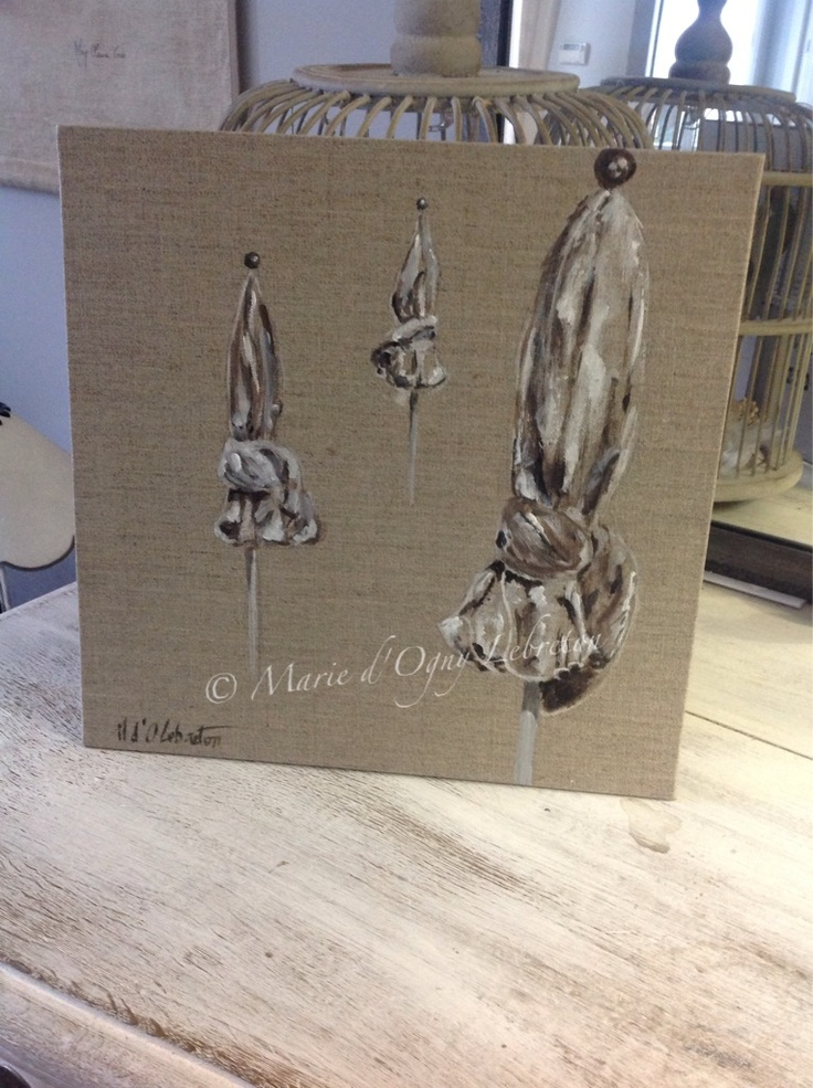 parasols de deauville carton entoil lin 30 30cm peintures sur toile lin pinterest. Black Bedroom Furniture Sets. Home Design Ideas