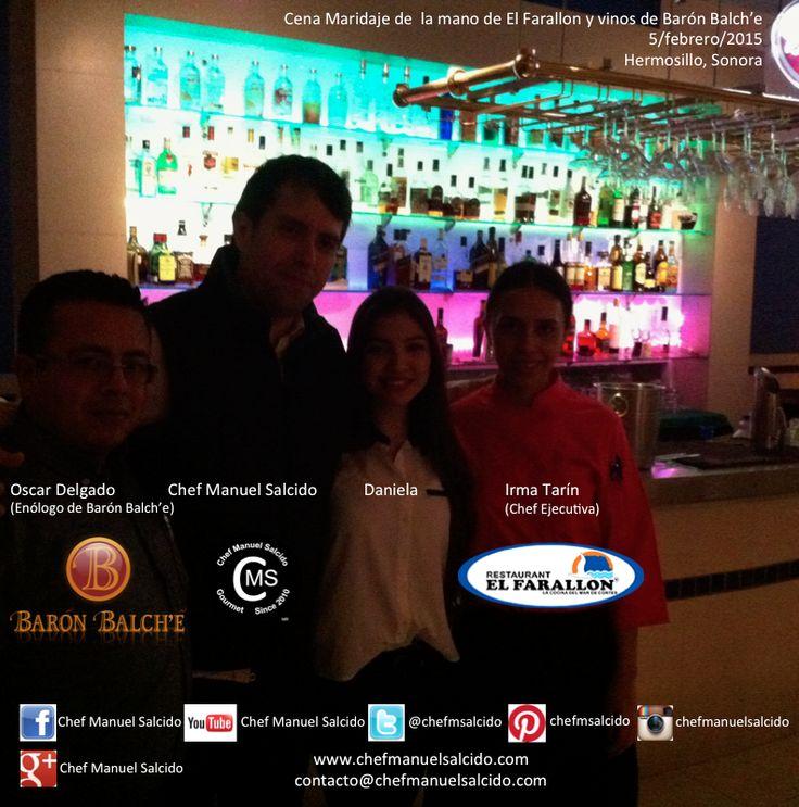 der a izq. Irma Tarín (Chef Ejecutiva de Restaurant El Farallon), Daniela Garcia Duarte Emoticono smile, Chef Manuel Salcido, Oscar Delgado (Enólogo de Baron Balche), tan agusto que terminamos la sobremesa a las 12 jajajaja, Silvia Decolatti (Gerente de #BaronBalche) te mando un fuerte abrazo!!! buena vibra!!! #chefcms #maridaje #agusto #elfarallon #restaurante #favorito #recomendado #hermosillo #cultura #vino #mexicano #valledeguadalupe