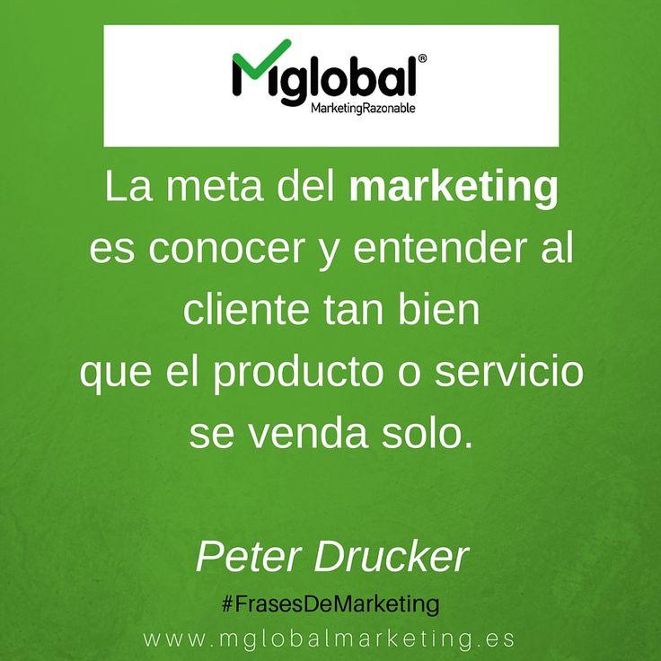 La meta del marketing es conocer y entender al cliente tan bien que el producto o servicio se venda solo. Peter Drucker #FrasesDeMarketing #MarketingRazonable #MarketingQuotes