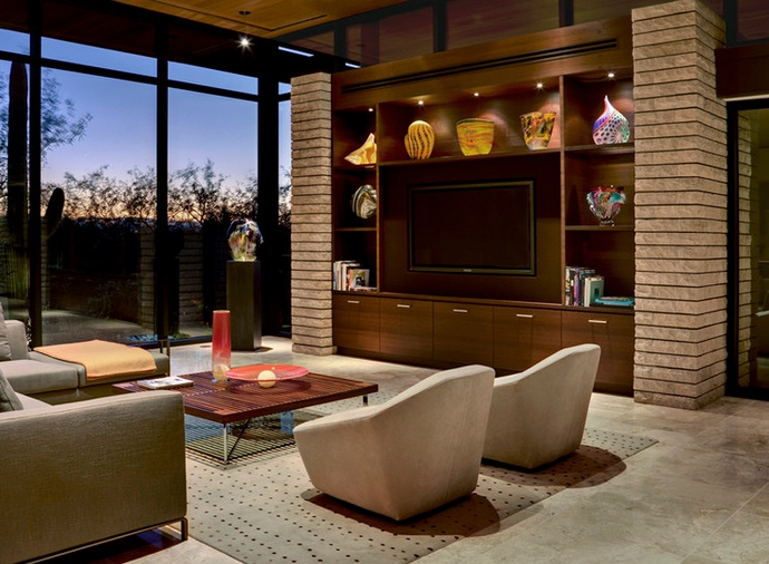 Beautiful Built In Contemporary Home Entertainment Center